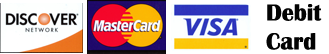 Visa, master card, Discover and Debit card